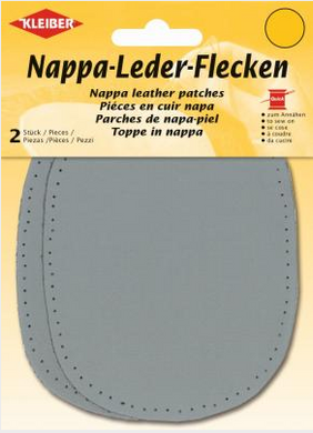 Patches - Sew on - Large Oval Leather - Grey