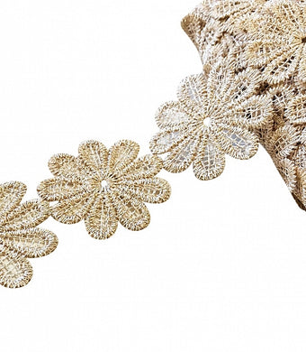 Gold Daisy Applique Lace