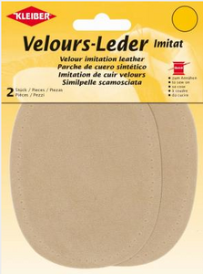 Patches - Sew on - Large Oval Faux Leather - Beige