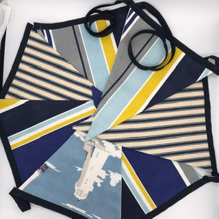 Bunting - Blue Stripes - Ready Made