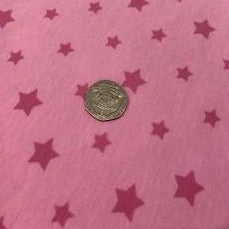 Cotton Jersey Fabric - Pink Stars