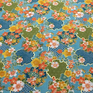 Floral Metallic - Aqua - 100% Cotton