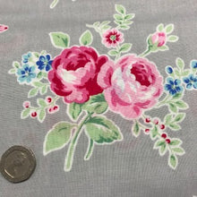 Load image into Gallery viewer, Flower Sugar -Roses on Grey - 100% Cotton