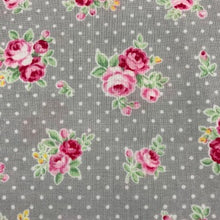 Load image into Gallery viewer, Flower Sugar -Small Roses on a Grey Spotty Background - 100% Cotton