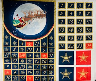 Santa & His Reindeer Advent Calendar - 100% Cotton