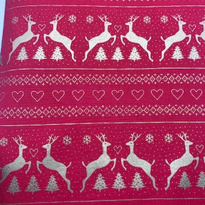 Nordic Reindeer - Red & Gold - 100% Cotton