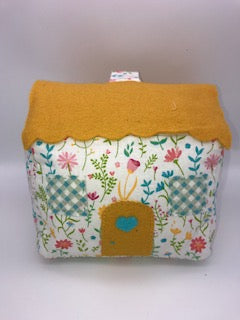 Door Stop Cottage - Yellow Floral- Handmade
