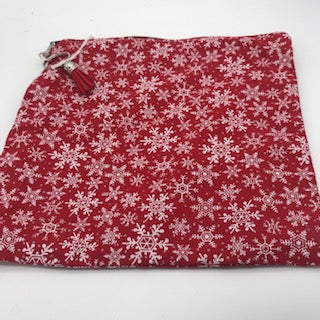Square Lined Bag - Red Christmas Fabric