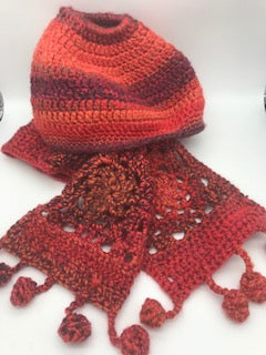 Crocheted Ponytail Beanie & Scarf Set