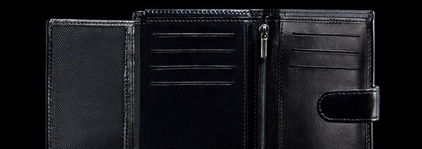 trifold wallet black leather