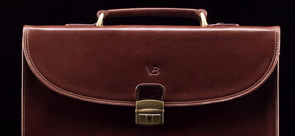 Wide shot of brown business briefcase
