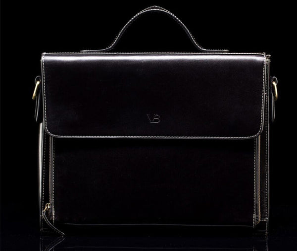 Black women's leather briefcase