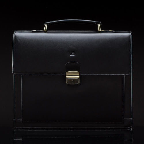 Executive Men's Buffalo Leather Briefcase black - front