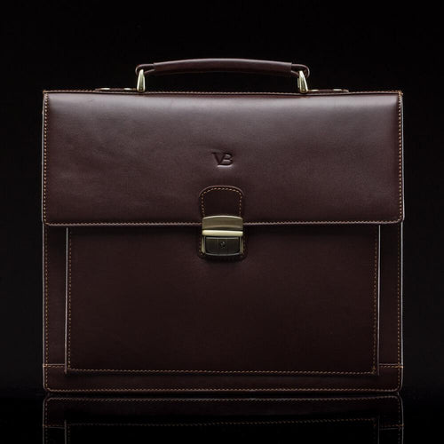 Executive Men's Buffalo Leather Briefcase brown - front