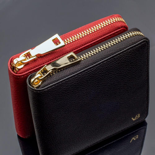 W2 Mini small leather wallet for women with zipper
