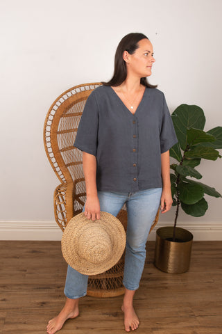 Poppy Blouse - Charcoal