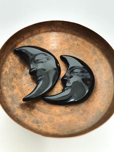 Black Rainbow Obsidian Moon with Face