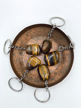 Load image into Gallery viewer, Tiger's Eye Tumbled Stone Keyring