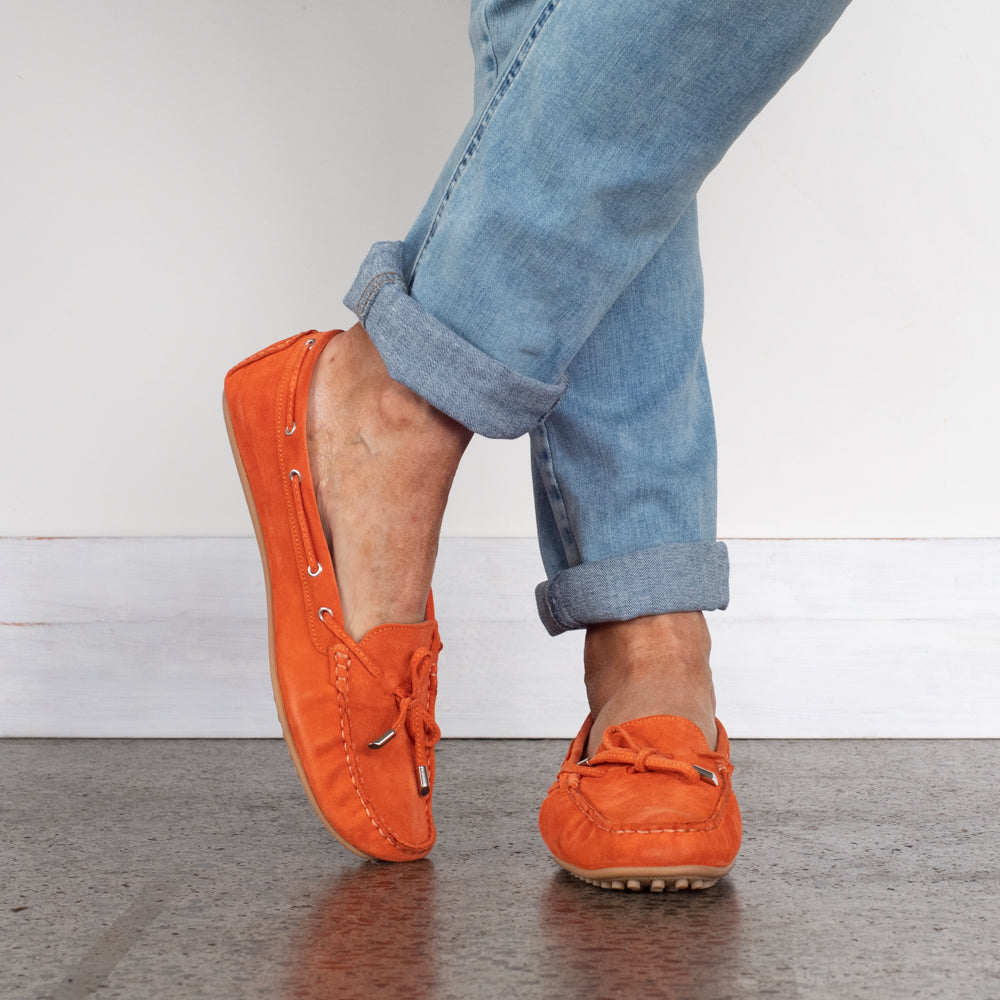 Size 12 shoes for women. Orange Suede