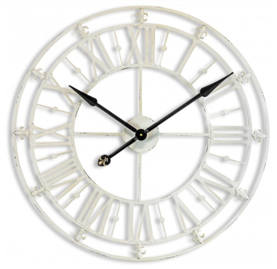 Antique Cream Iron Skeleton Clock