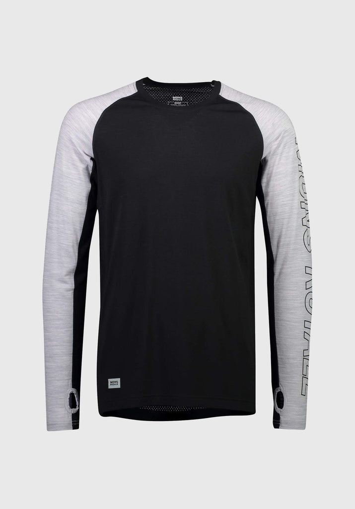 MONS ROYALE Mens Temple Tech Ls Black Grey Marl Front Off Model