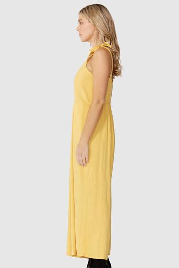 SASS Paradising Tie Strap Jumpsuit Sunflower Side