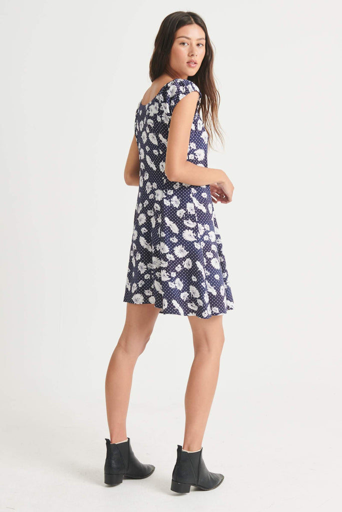 ROLLAS Erin Daisy Dress Navy Back Side angle