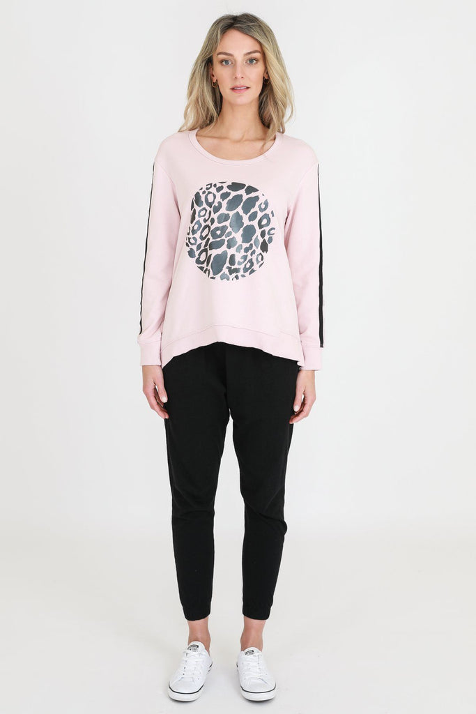 SAT AND SUN Leopard Circa Sweater Blush Front