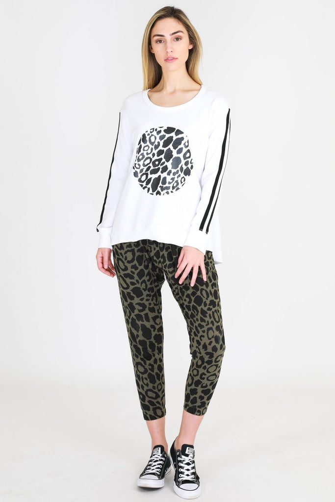 SAT AND SUN Leopard Circa Sweater White Front