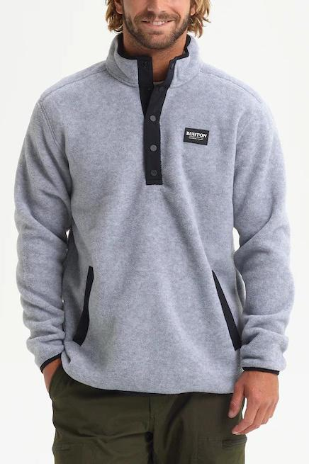 BURTON Hearth Fleece Pullover Heather Grey Front