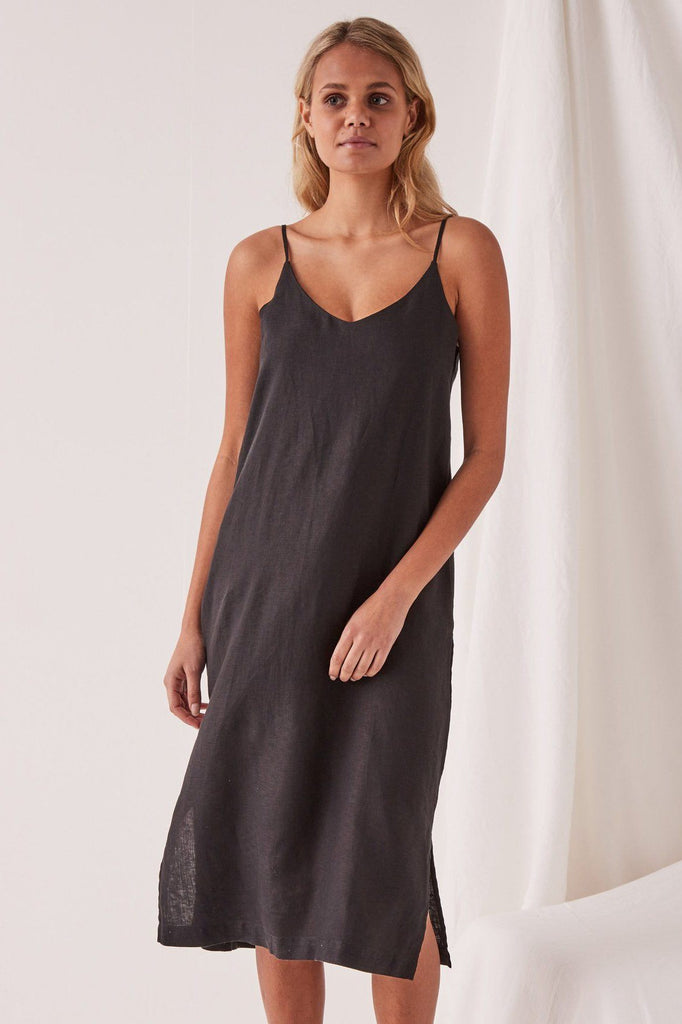 ASSEMBLY Linen Slip Dress Black Front