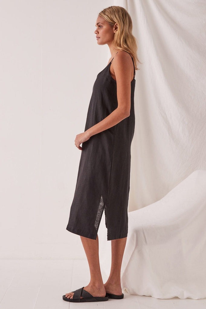 ASSEMBLY Linen Slip Dress Black Side