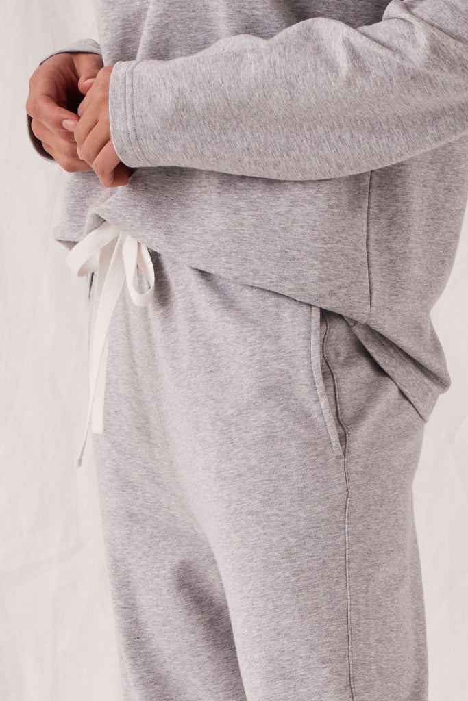 ASSEMBLY Kin Fleece Trackpant Grey Marle Front Detail