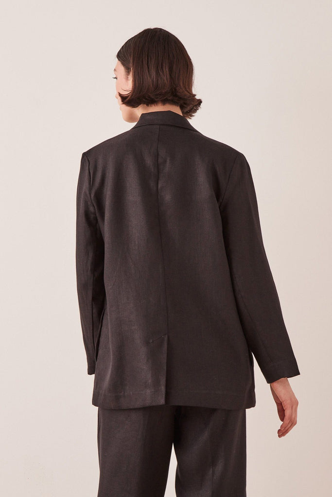 ASSEMBLY Double Breasted Linen Blazer Black Back