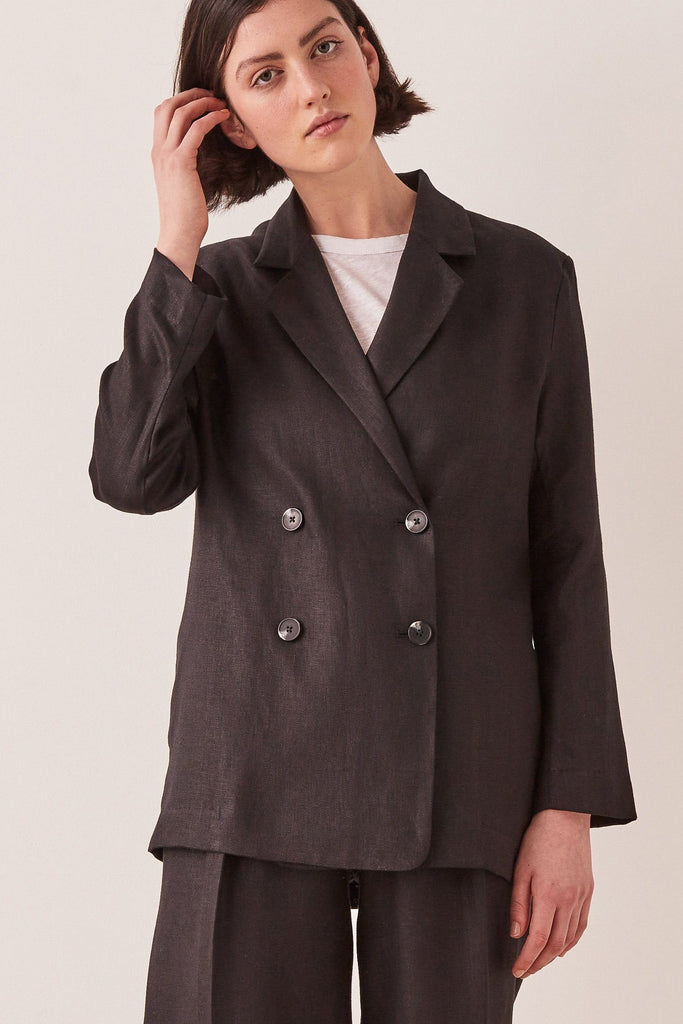 ASSEMBLY Double Breasted Linen Blazer Black Front