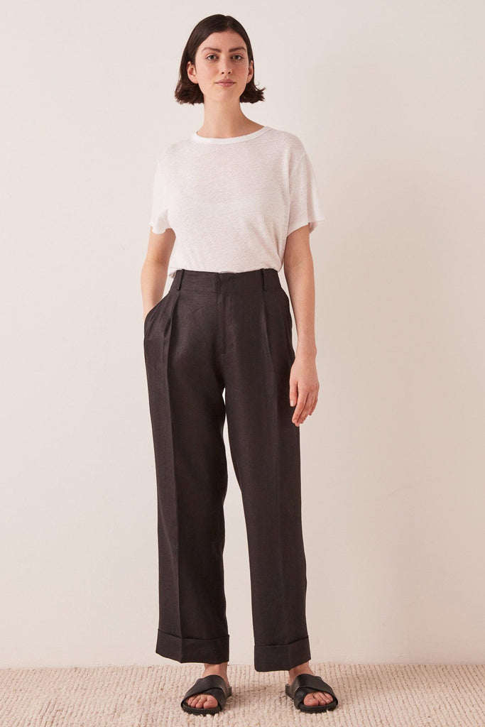 ASSEMBLY Tailored Linen Pant Black Front Full