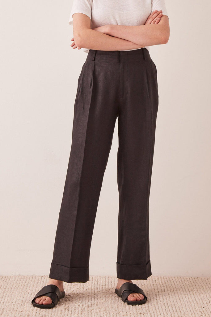 ASSEMBLY Tailored Linen Pant Black Front