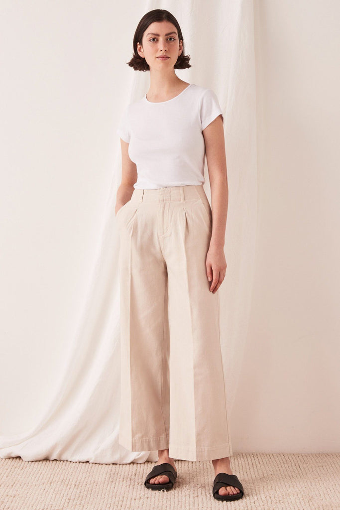 ASSEMBLY Wide Leg Pant Ivory Front Full
