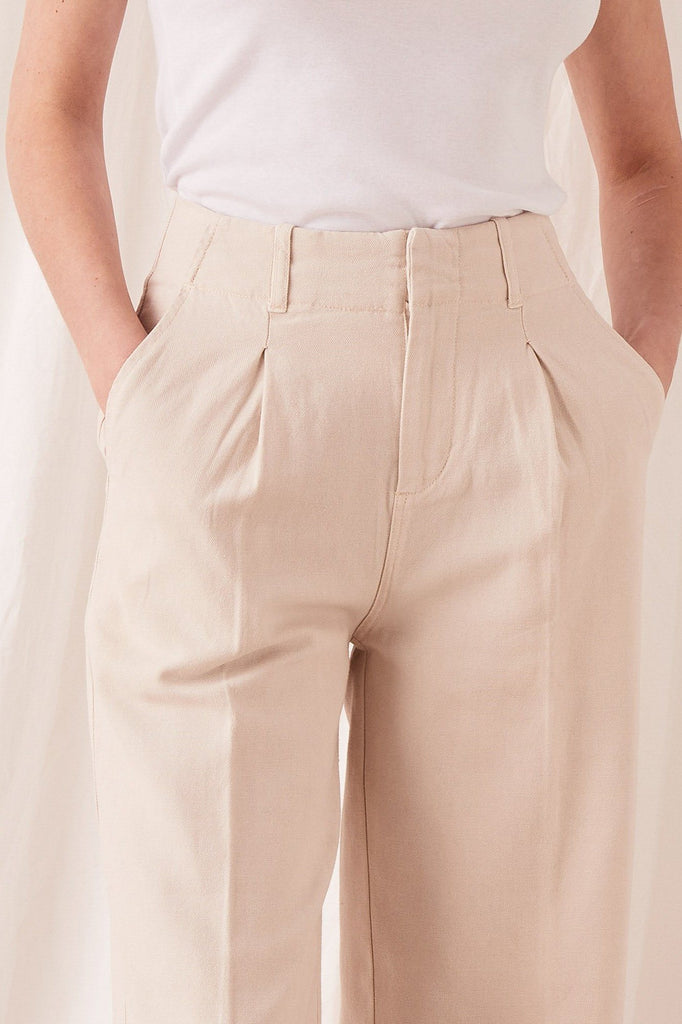 ASSEMBLY Wide Leg Pant Ivory Front Detail
