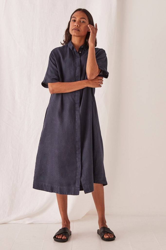 ASSEMBLY Mae Dress Navy Front
