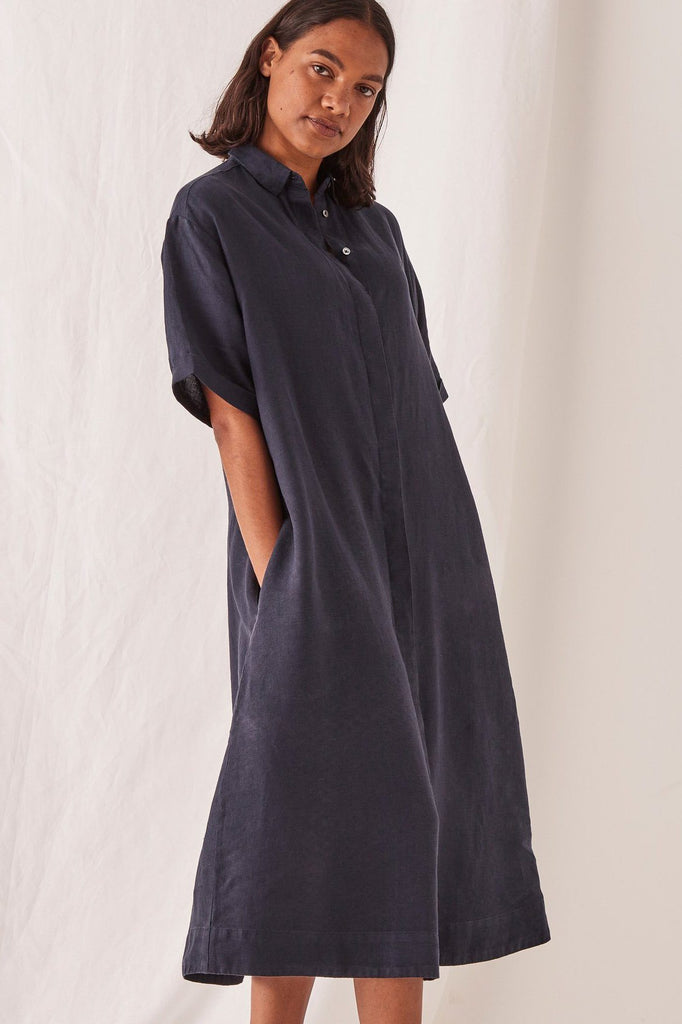 ASSEMBLY Mae Dress Navy Side Angle