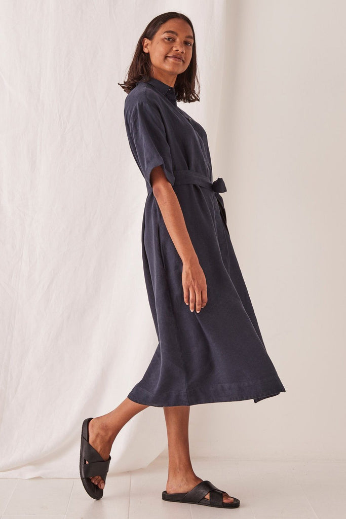 ASSEMBLY Mae Dress Navy Side