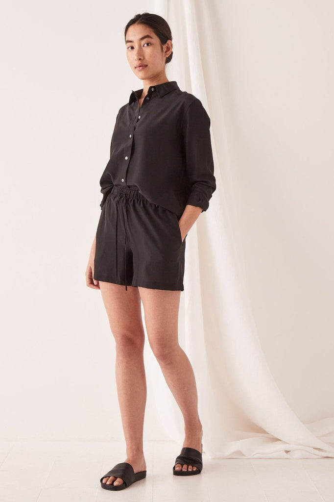 ASSEMBLY Malene Silk Shirt Black Front Full