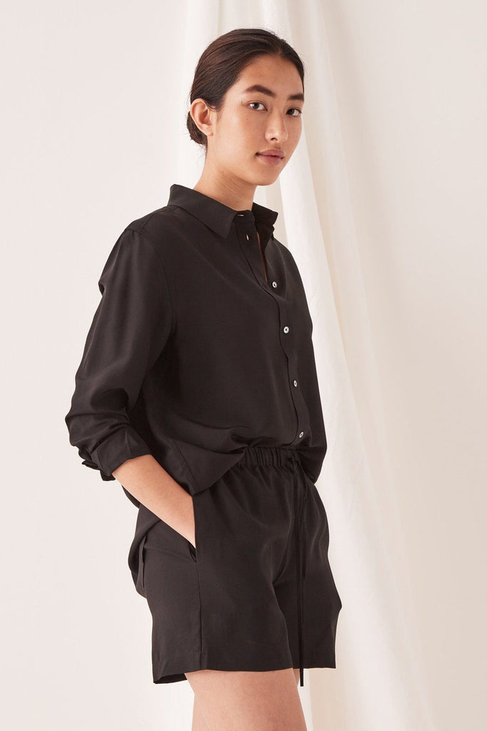 ASSEMBLY Malene Silk Shirt Black Side Angle