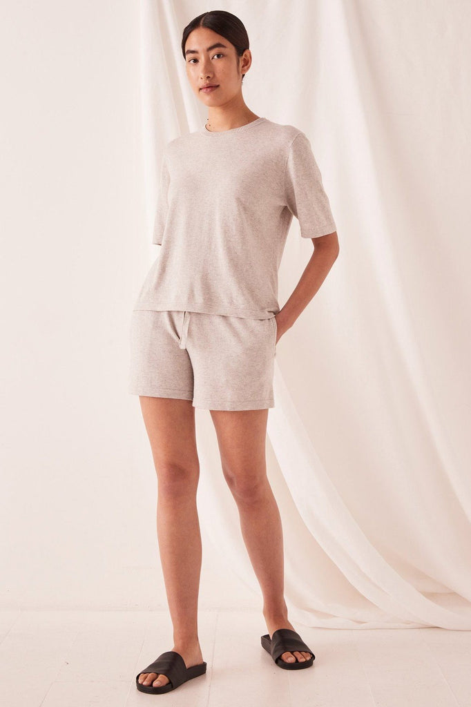 ASSEMBLY Cotton Cashmere Lounge Tee Grey Front Full