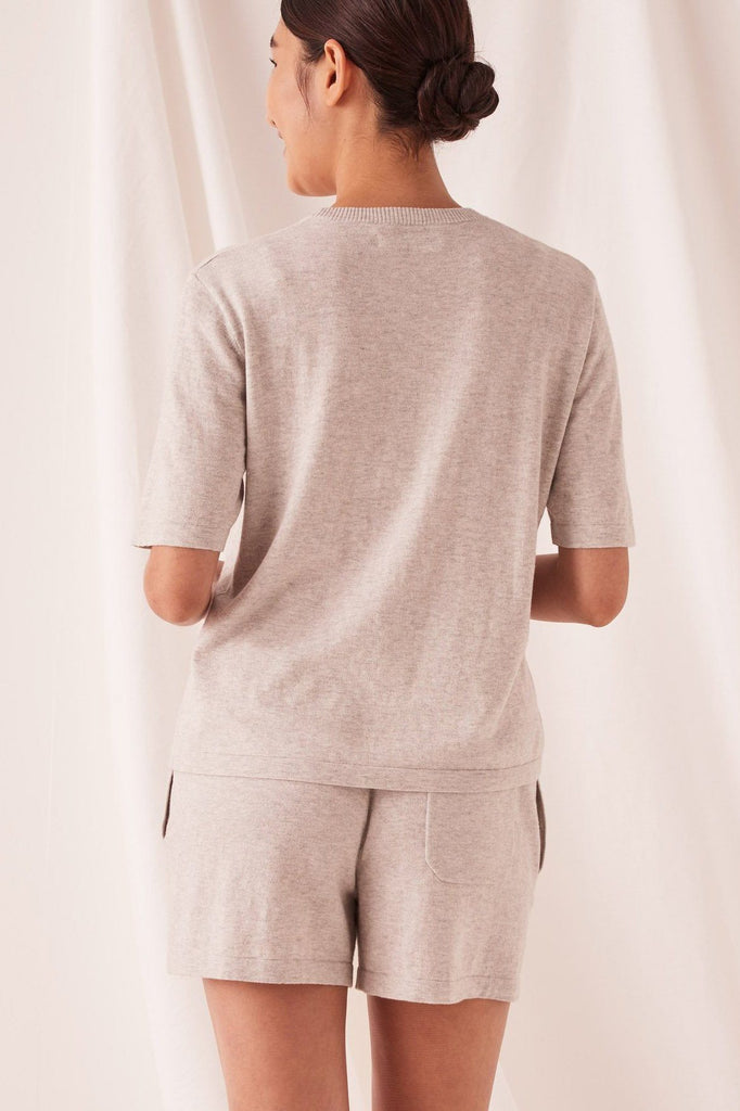 ASSEMBLY Cotton Cashmere Lounge Tee Grey Back