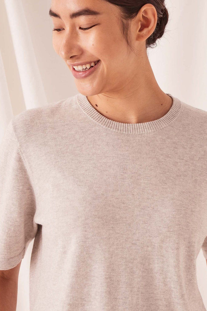 ASSEMBLY Cotton Cashmere Lounge Tee Grey Close Up