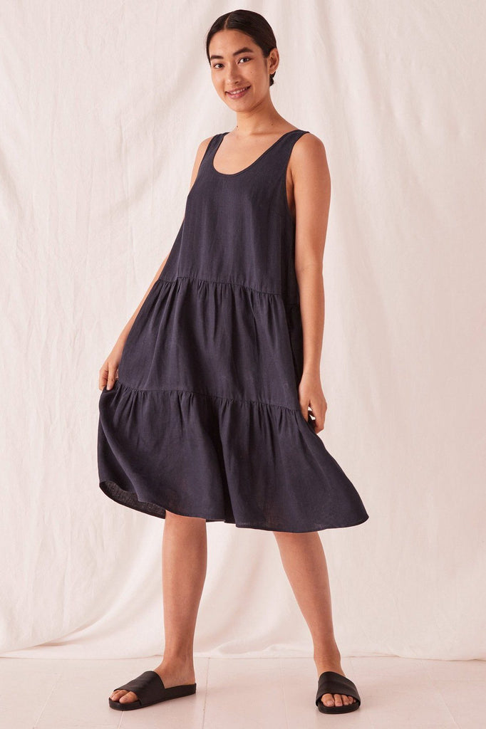 ASSEMBLY Tiered Linen Dress True Navy Front Full