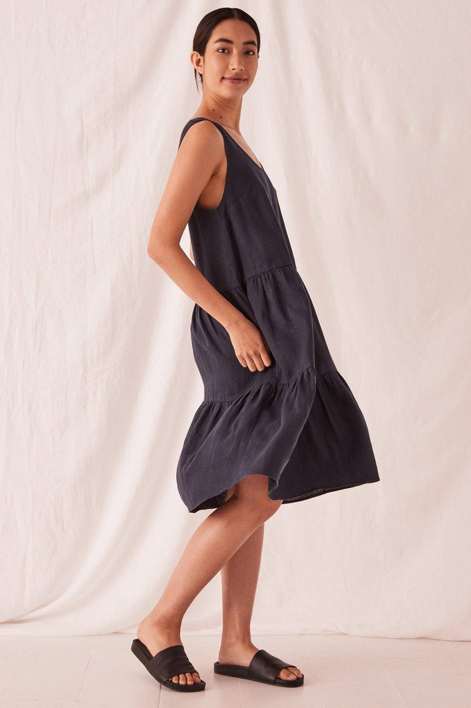 ASSEMBLY Tiered Linen Dress True Navy Side Full
