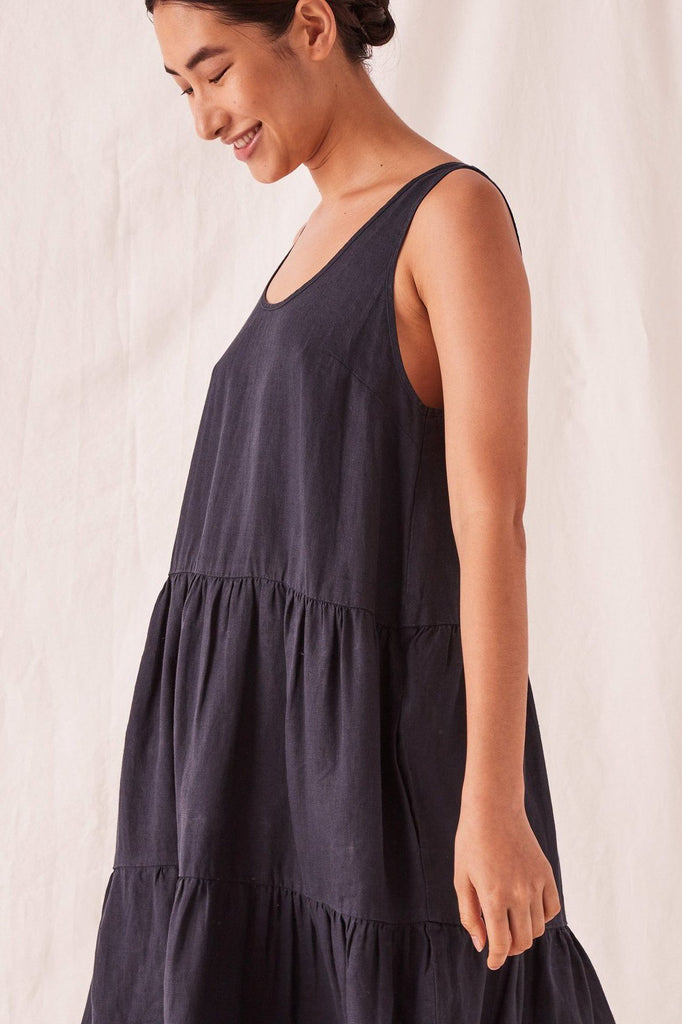 ASSEMBLY Tiered Linen Dress True Navy Side